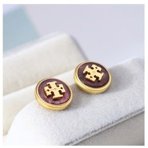 16K Tory Burch Semi-Precious Pearl Stone Earrings